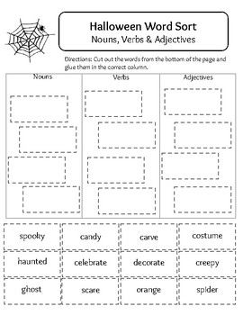 Halloween Word Sort Nouns Verbs And Adjectives Halloween Words Word Sorts Nouns Verbs Adjectives