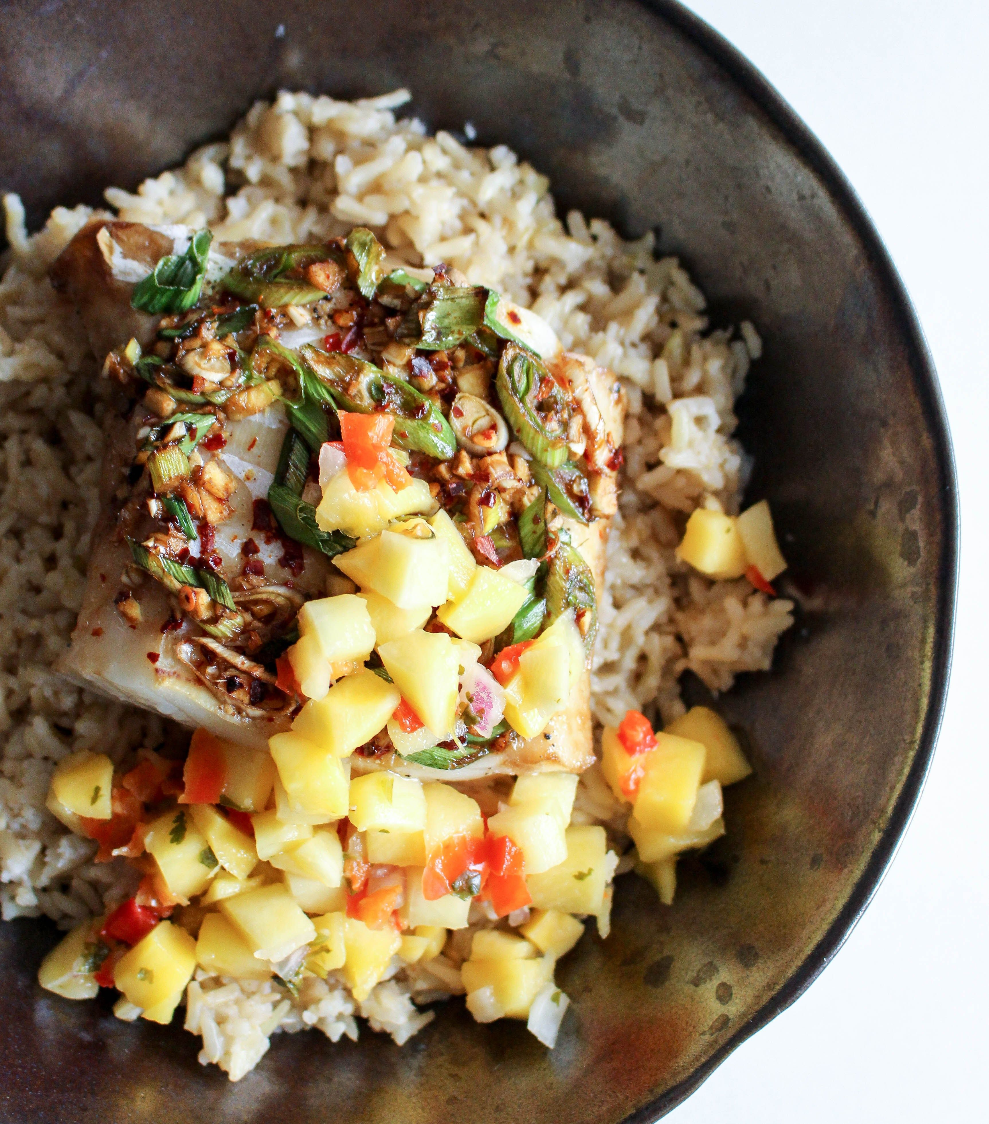 Asian cod with coconut rice mango salsa yes to yolks