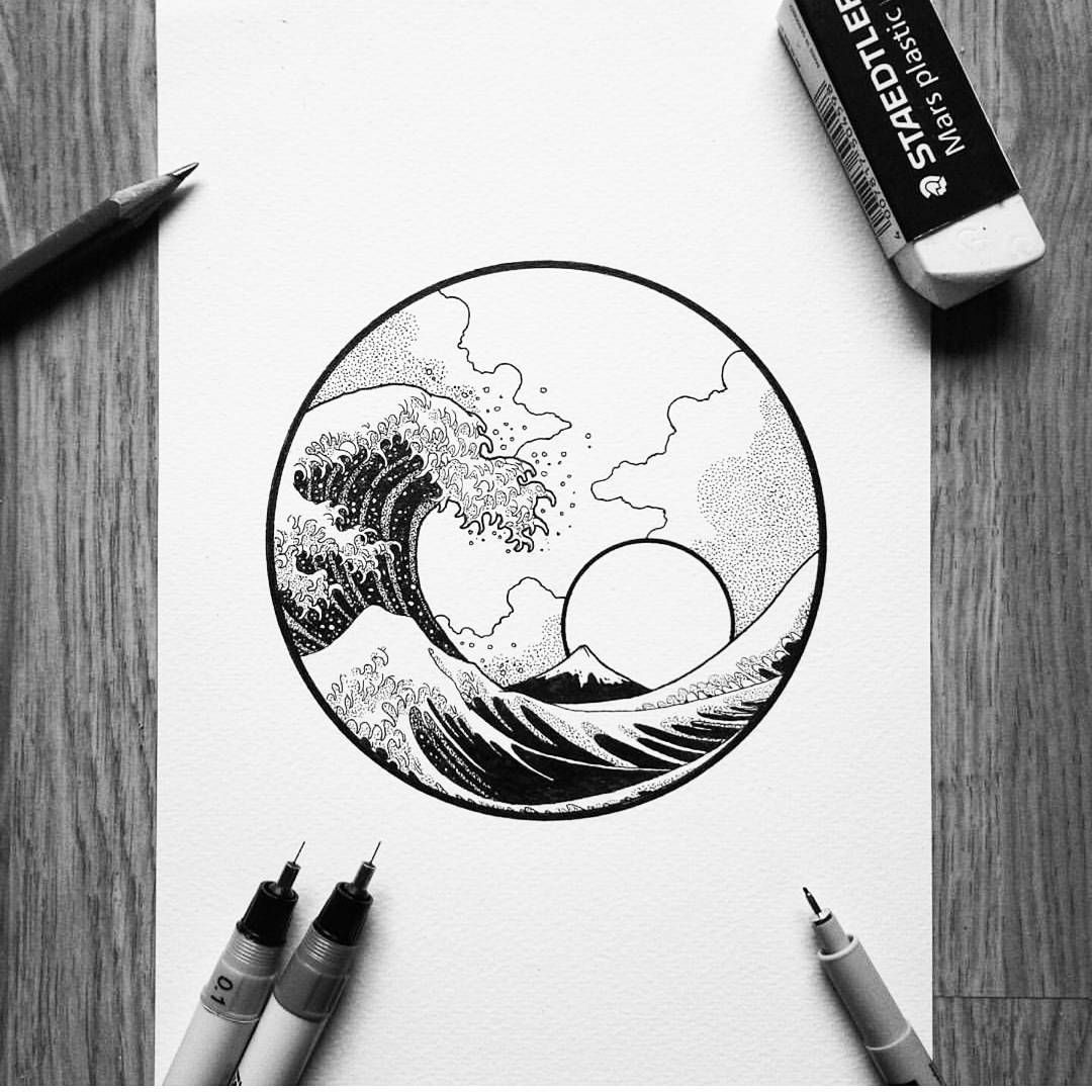 The Great Wave Off Kanagawa Tattoo Illustration Black And White Idea Printmaking Drawing Design Photo By Black Black Art Tattoo Drawings Art Drawings