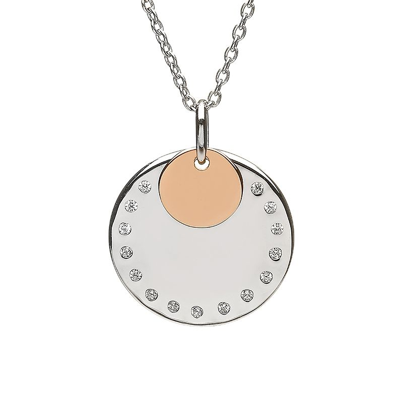Round CZ disc with round rose gold disc #houseoflor #irishjewelry #irishgold #pendant #sterlingsilver #rosegold
