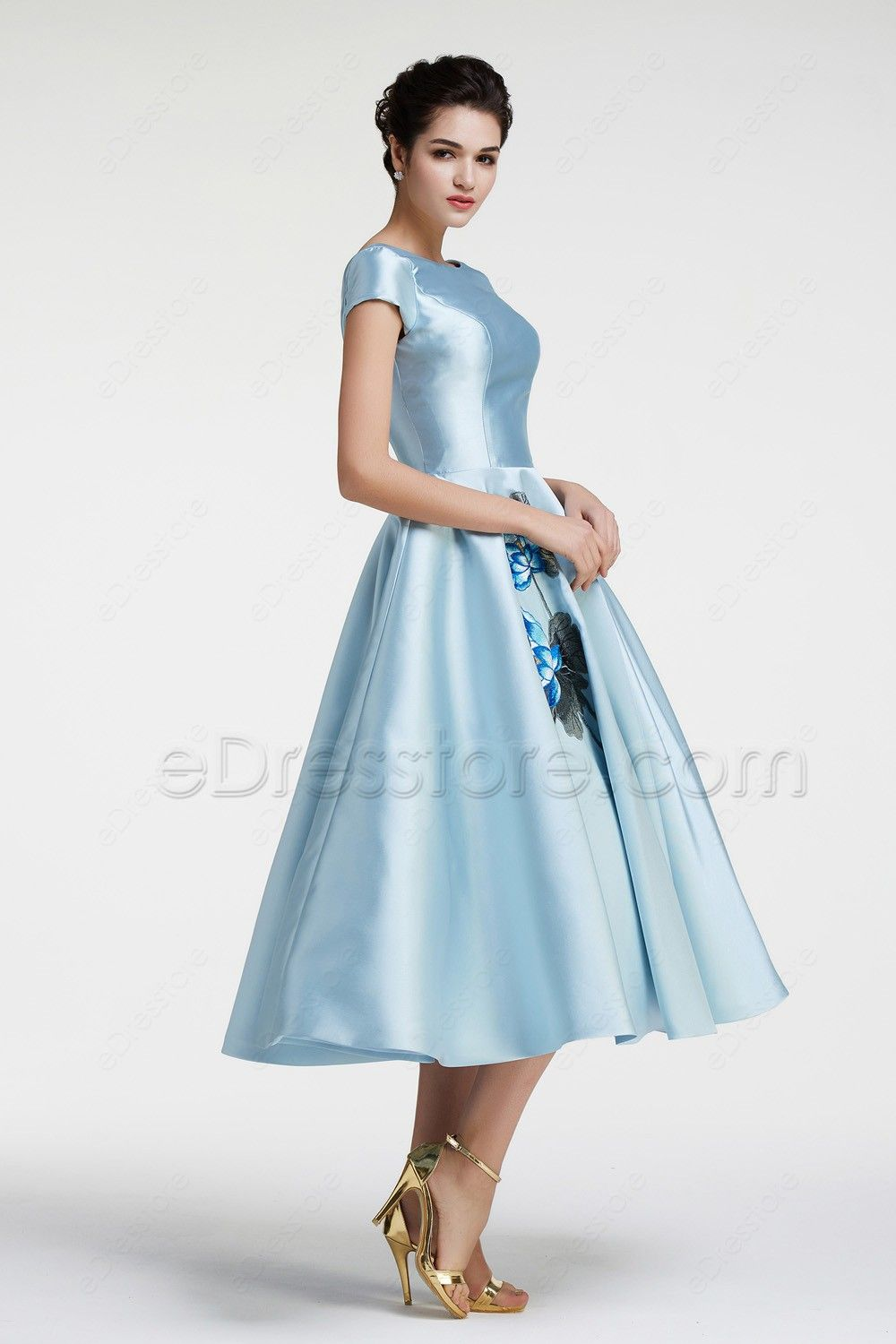 Modest Ball Gown Ice Blue Vintage Prom Dress with Sleeves | Tea ...