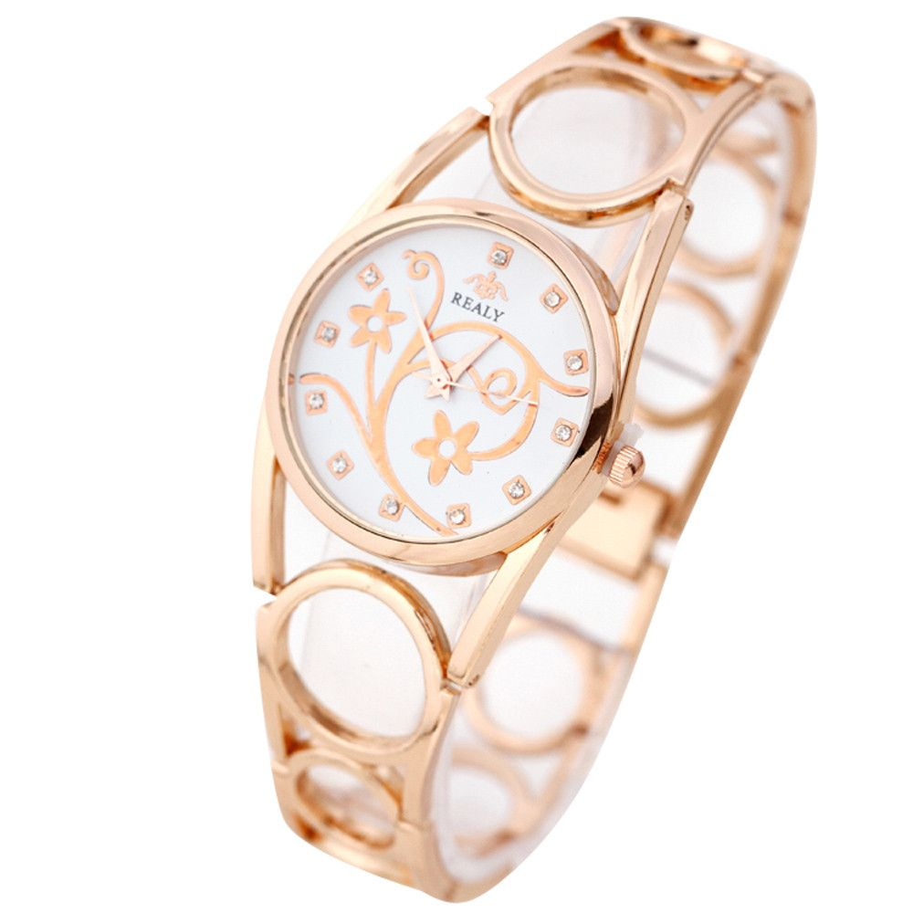 Women quartz watch femmes montre crystal round dial steel