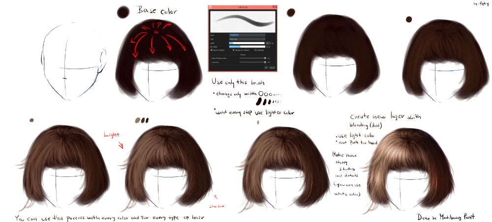 Ryky S Hair Tutorial 2 Medibang Paint Photoshoptutorialhair In 2020 Hair Tutorial Realistic Hair Drawing Photoshop For Photographers