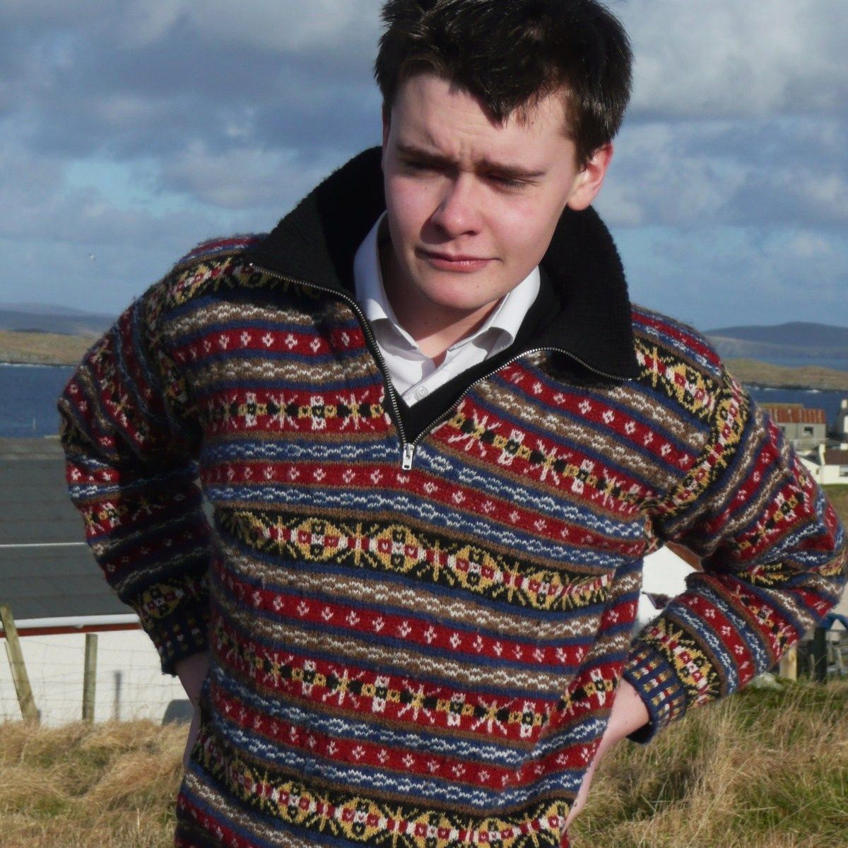 New! Zippered neck authentic, hand-knit #FairIsle pullover from ...