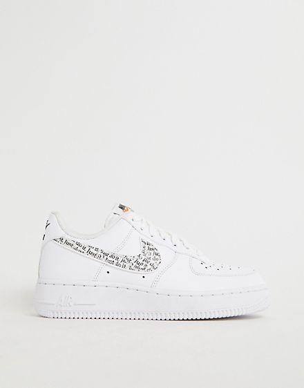 Nike Triple White With Printed Swoosh Air Force 1 07 Lv8 Jdi Trainers Nike Leopard Nikes Nike Air Force Sneaker
