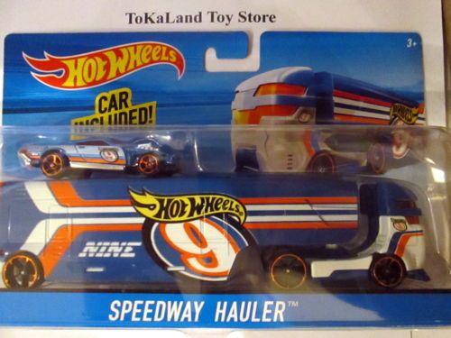 J3 Hot Wheels Blue Speedway Hauler Hauling Rig Truck W Car Hot Wheels 56 Ford Truck Hot