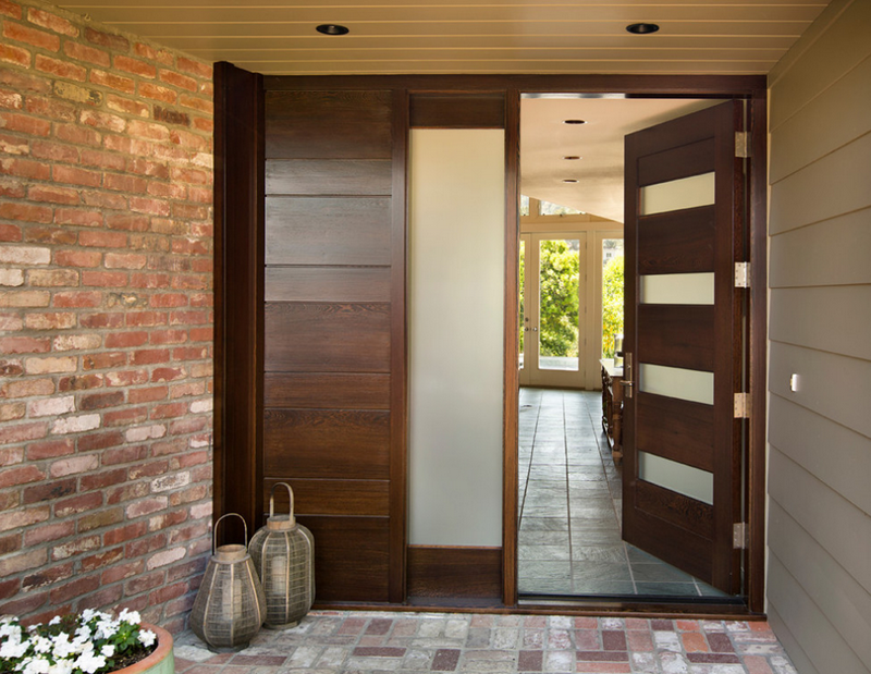 beautiful design ideas modern door. Exterior Ideas  Modern Entry Doors With Brick Walls Wooden Door Also Planters Flush Mount And Bell Create a Warm Welcome for any People with contemporary double entry doors Contemporary