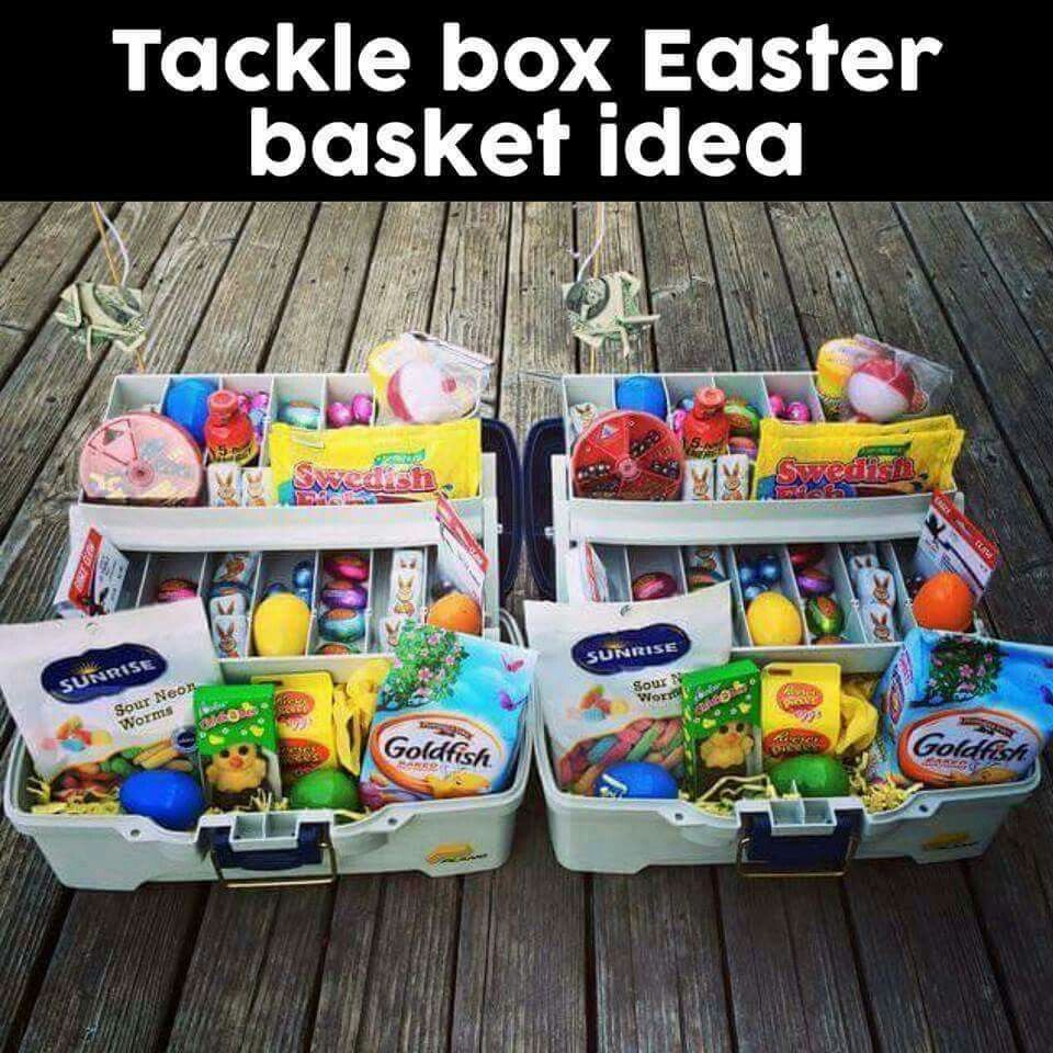 What a great idea bebe really good for older children and tackle box easter basket for boy or girl negle Choice Image
