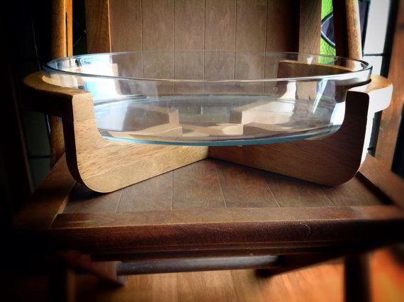 Danish Modern Gailstyn-Sutton Teak Wood Caddy and Marinex Oval Glass Casserole