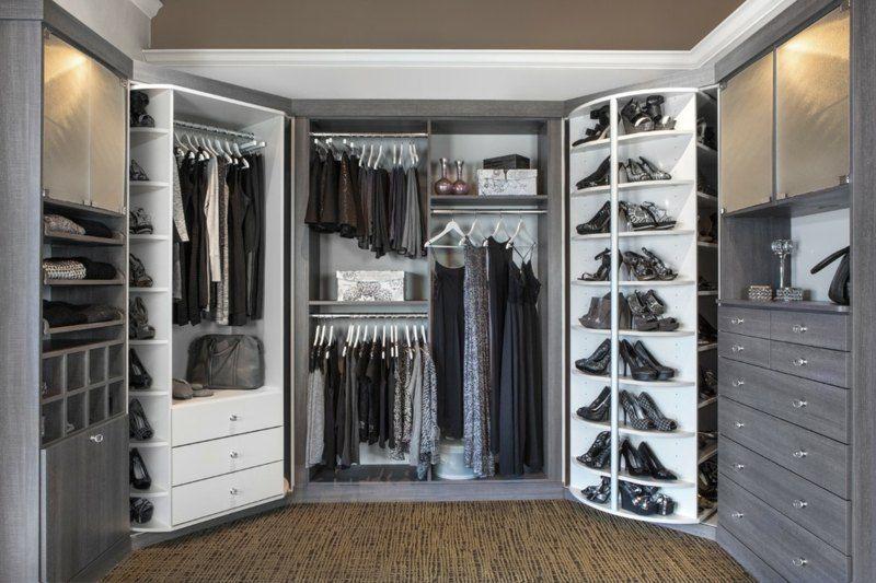 Schlafzimmerschrank Weiß ~ Modularer begehbarer kleiderschrank in weiß und grau begehbare