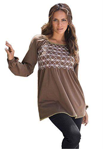 40eddb99c3e Roamans Women s Plus Size Embroidered Smock Tee (Coffee