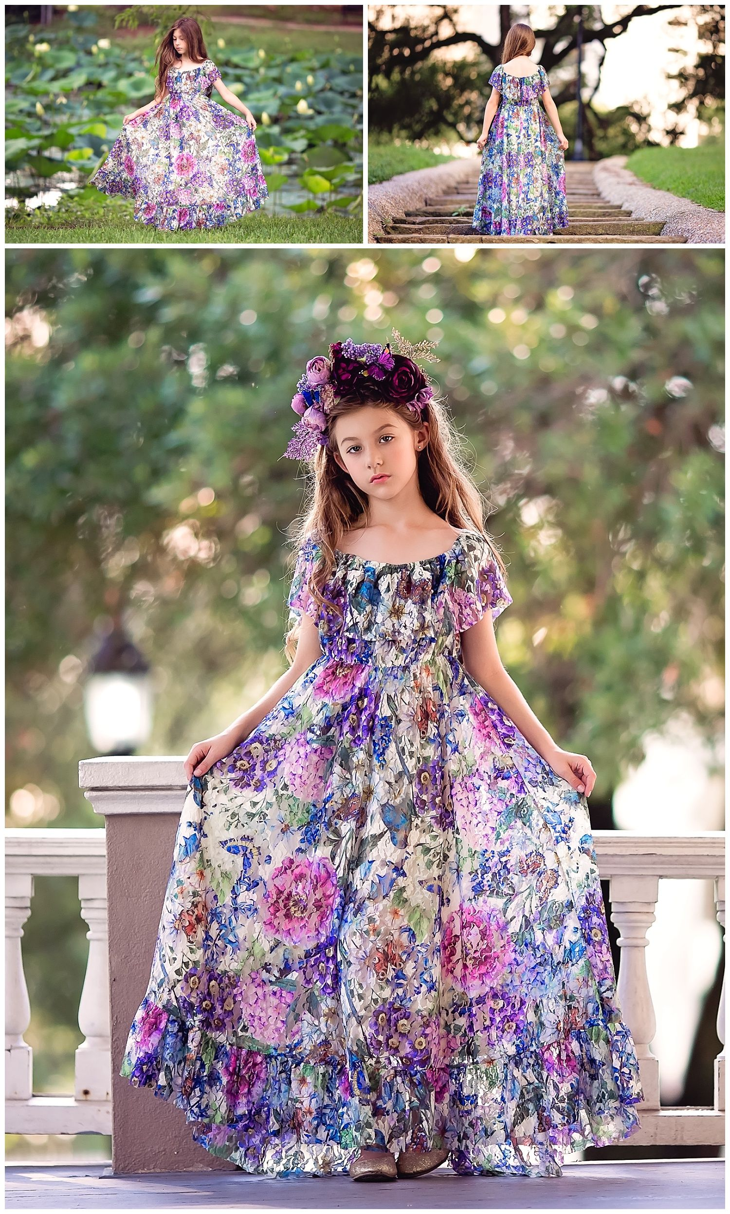 f4a0d88e7 Stunning bohemian chic floral lace maxi dress for girls. For a flower girl  dress or boho inspired photoshoot.