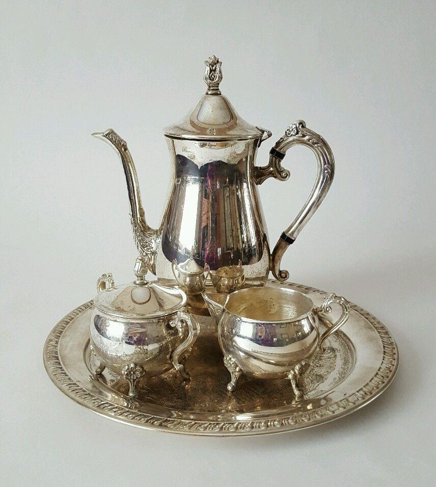 Description : Antique Leonard Silver Plate 4 Piece Tea Set ~ Tea pot ...