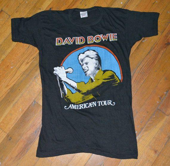 1976 David Bowie Vintage Concert Tour Rare Original Rock T Shirt Medium M 70s 1970s Ziggy Stardust Vintage Concert T Shirts Rock T Shirts David Bowie