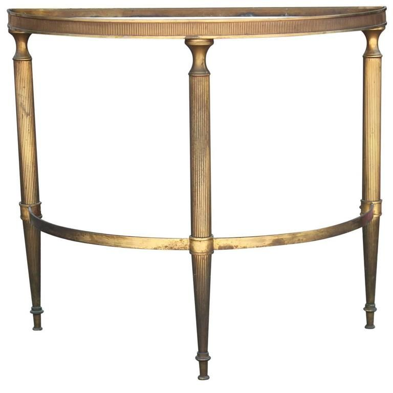 Modern French Brass Demilune Side Table With Vintage Half Moon