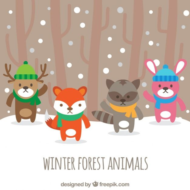 Download Pretty Forest Animals With Hat And Scarf For Free Forest Animals Animal Groups Animals