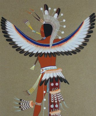 $1800 Eagle Dancer as Seen from Behind, Paintings by Riley Sunrise