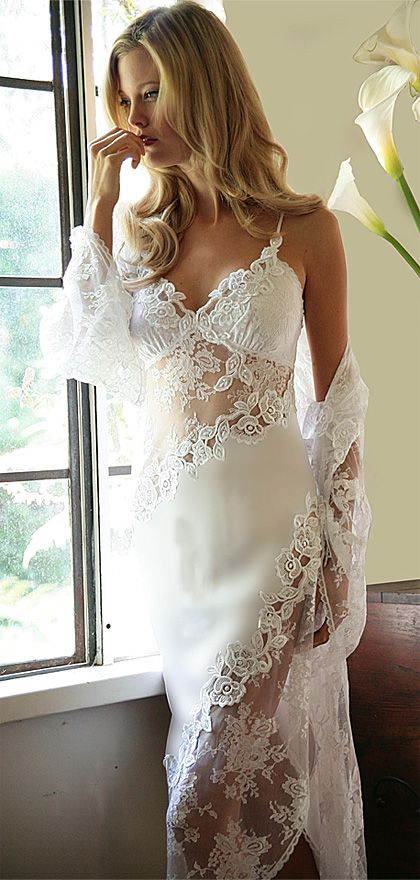 Beautiful White Satin with all-over Bridal Lace Night Gown and ...