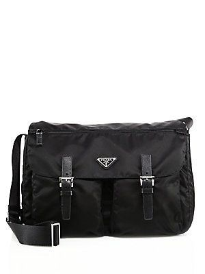 aecfd97aba70 Prada Nylon & Leather Messenger Bag - Black | Products in 2019 ...