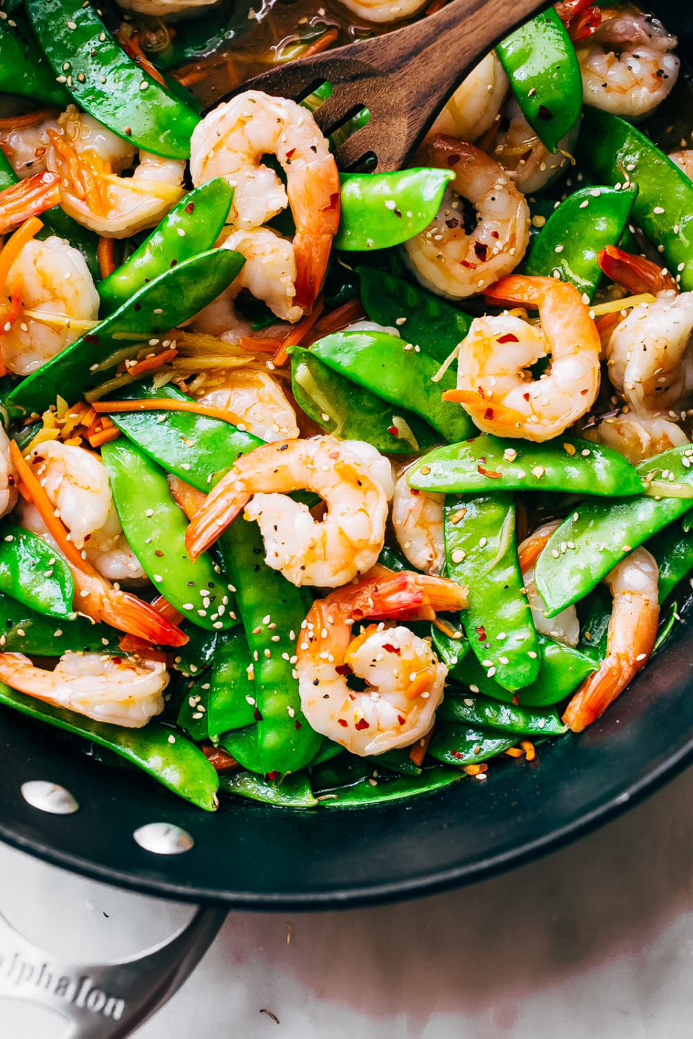 10-Minute Ginger Shrimp Snow Pea Stir Fry Recipe - Little Spice Jar