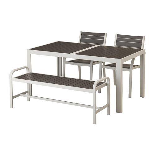 SJÄLLAND Table+2 Chrsw Armr+ Bench, Outdoor Dark Grey IKEA