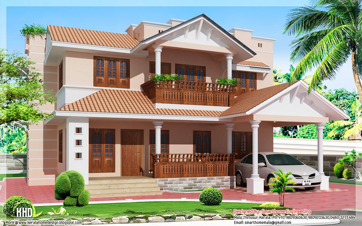 Villa homes 1900 kerala style 4 bedroom villa for Kerala house images gallery