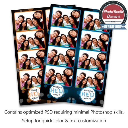 a simple yet fun photo booth template design new year fun is sure to delight your client the design features spots of varying size on a bokeh background