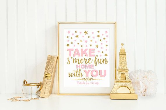 Take s'more fun home with you sign pink and gold twinkle