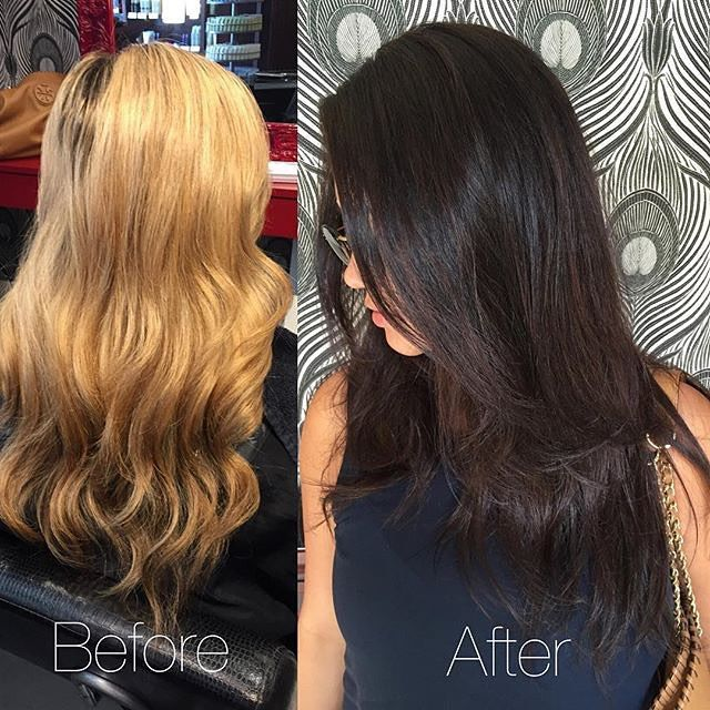 Big change for this lovely guest! From blonde to brunette! :: RedBloom Salon