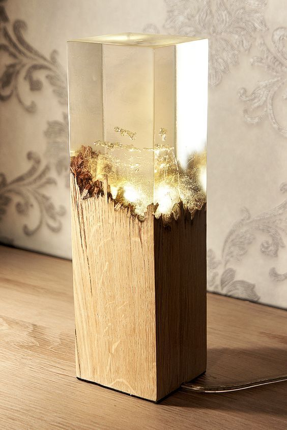 Lampe Holz Epoxidharz Light Fixtures Natural Resources Pinterest