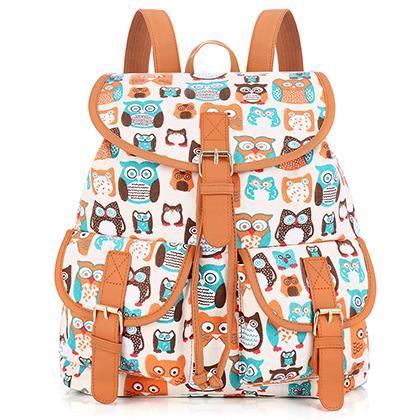 0c2796e53 Sansarya New 2018 Cute Owl Print Canvas Teen Backpack Shcool Bags Bagpack  Women Rucksack For Girls Female Drawstring Bag Rugzak