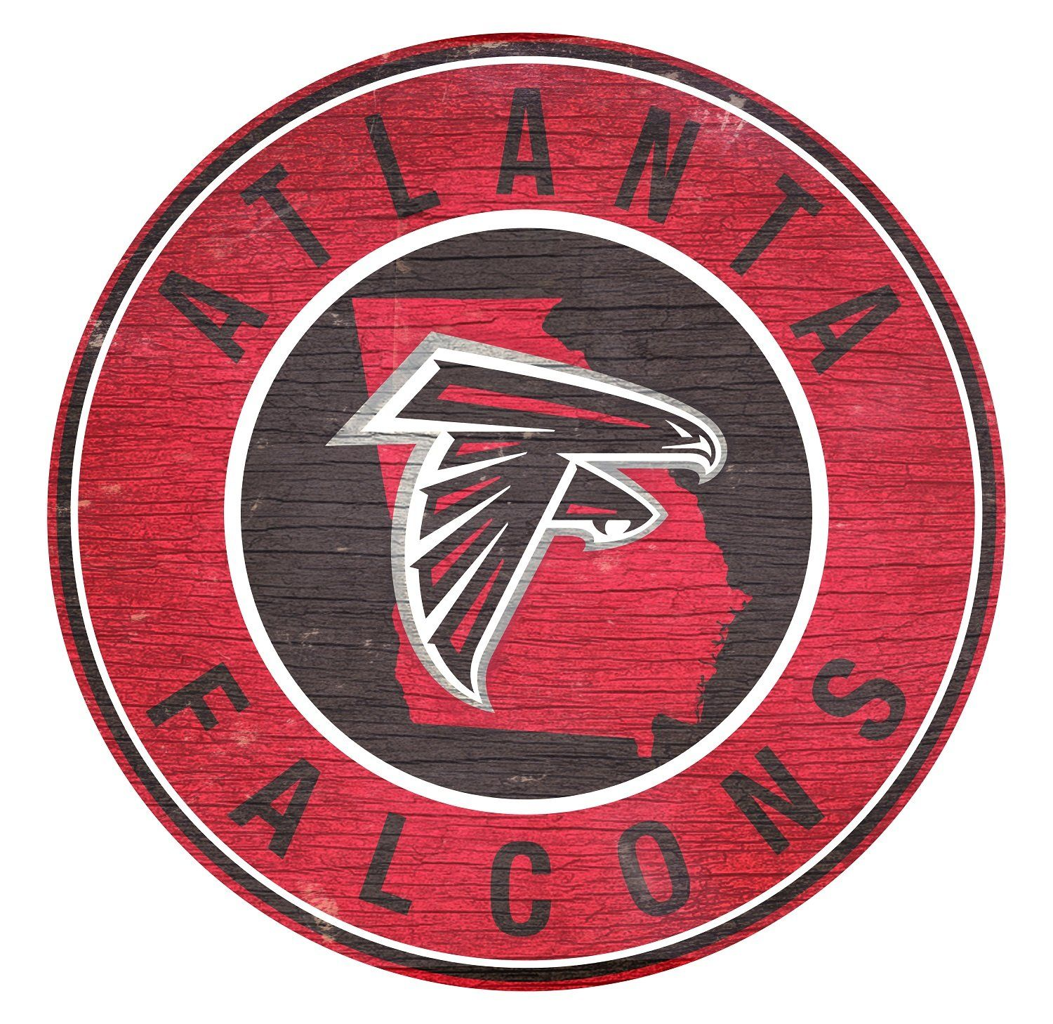 Atlanta Falcons State With Logo 24 Round Sign Atlanta Falcons Falcons Logos