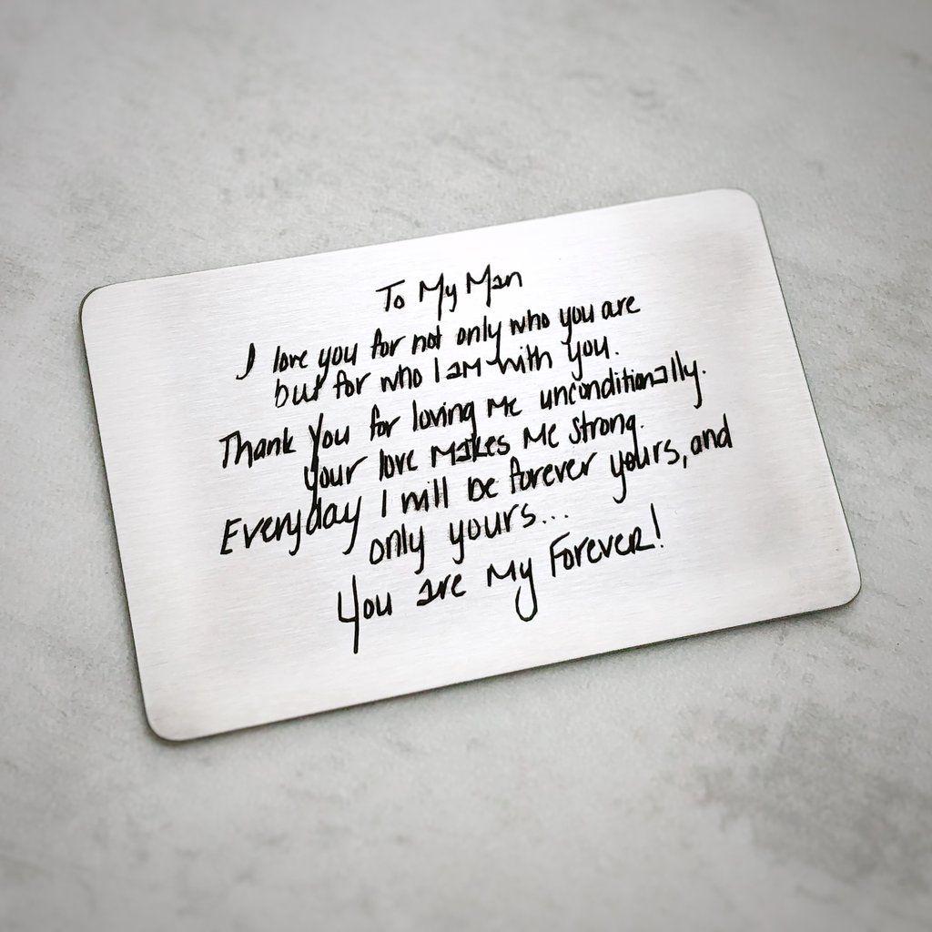 Custom Handwritten Wallet Insert Thoughtful Gifts For Him Boyfriend Gifts Diy Gifts For Boyfriend