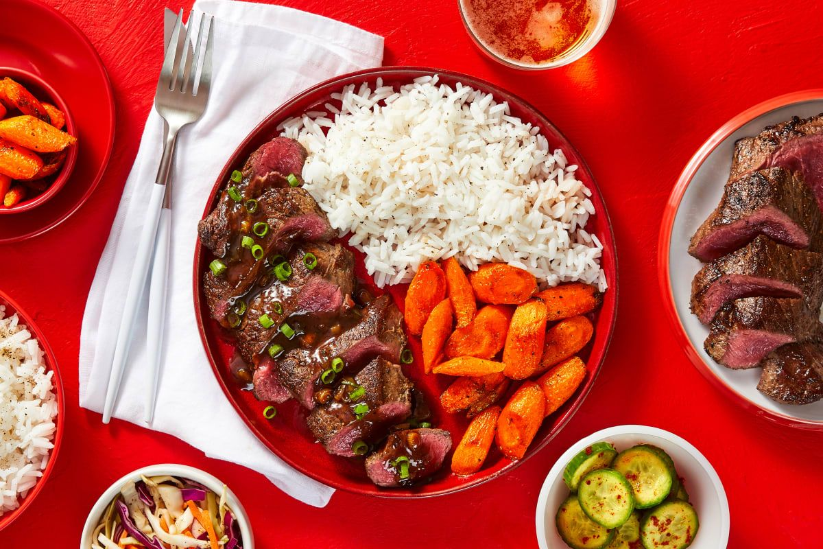 Korean BBQ Bulgogi Sirloin with Banchan Recipe ...