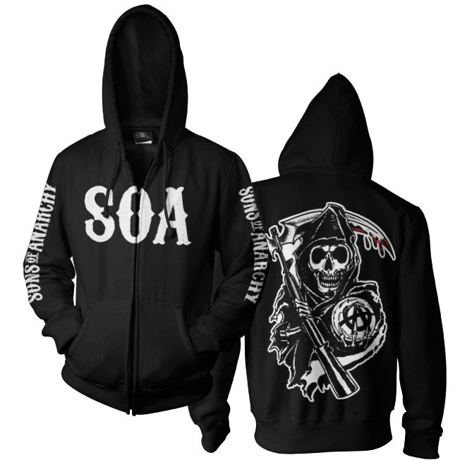 sons of anarchy soa reaper zipped hoodie sons of. Black Bedroom Furniture Sets. Home Design Ideas