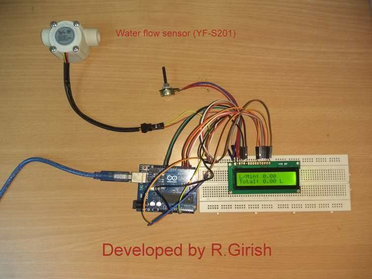 In this post we are going to construct a digital water flow meter