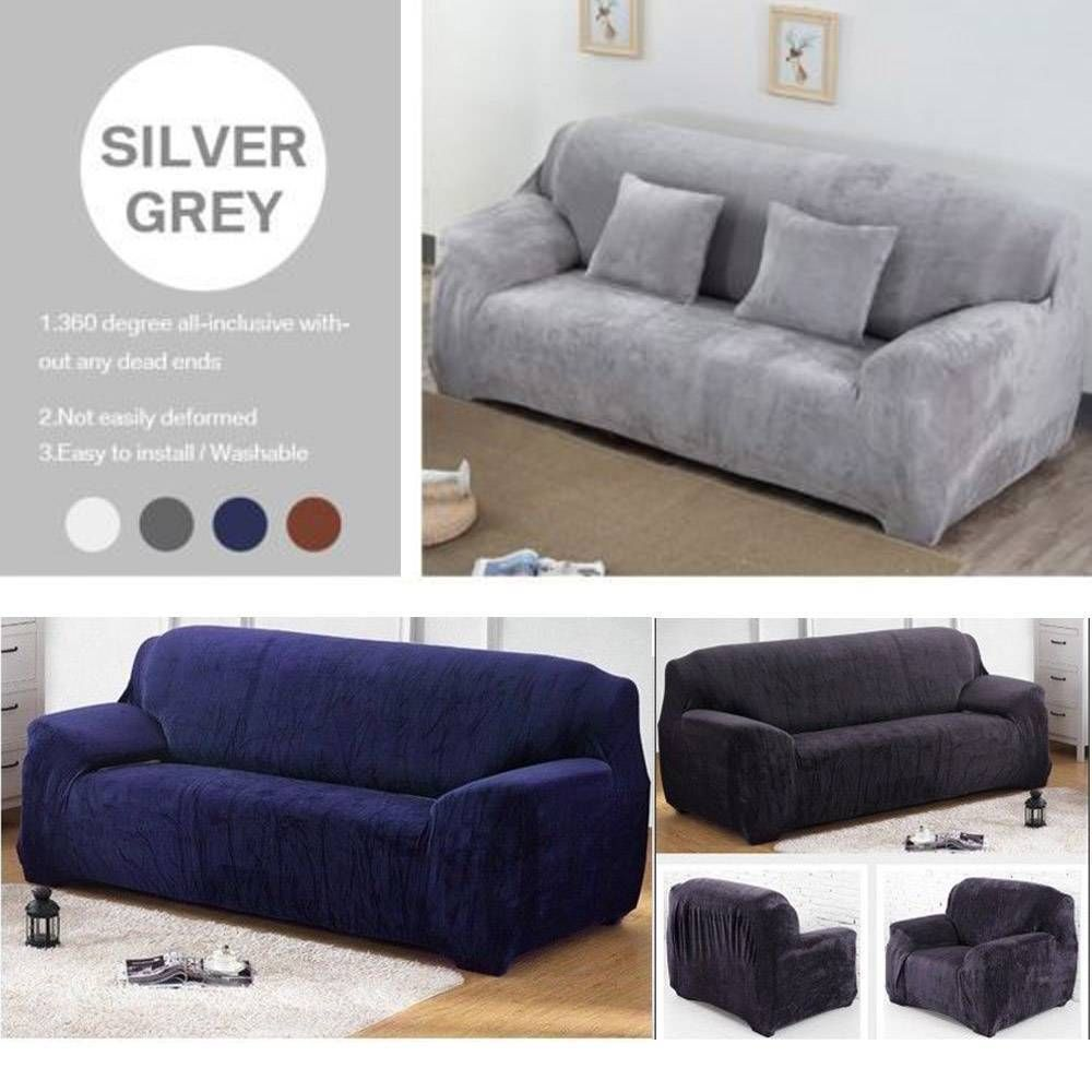 Easy Fit Sofa Slipcover Stretch Protector Soft Couch Cover Thick Plush Velvet Plush Sofa Ideas Of Plush Sofa Plushsofa Plush Plush Sofa Sofa Couch Covers