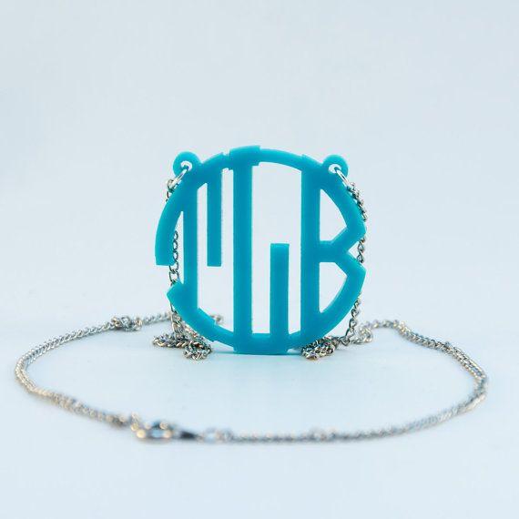 Monogram Necklace 1.5 Circle Block Tiffany by PhoenixMonograms, $16.99