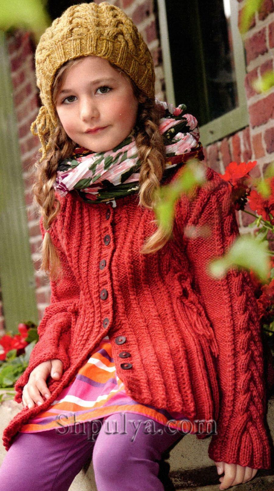 схемы вязания жакет спицами для девочки 8лет
