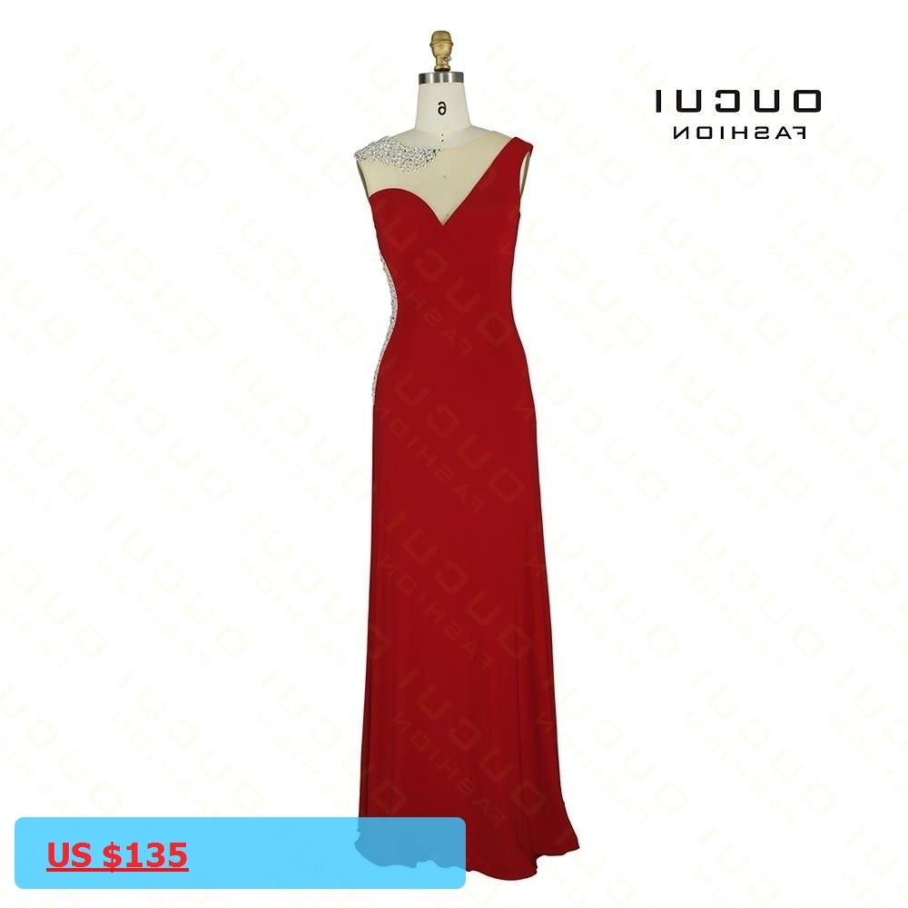 Real photos jersey fabric red color see through sexy elegance design