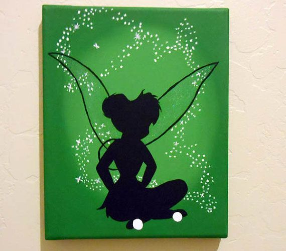 Disney Tinkerbell Acrylic Canvas Painting 8x10 Disney Canvas Art Disney Canvas Paintings Disney Paintings