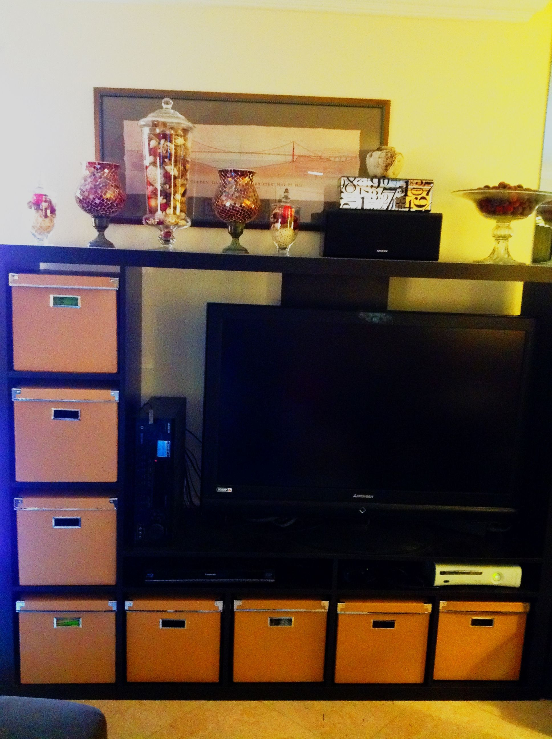 IKEA Expedit Entertainment Center With Bins For Hidden DVD/video Game  Storage And Apothecary Jar