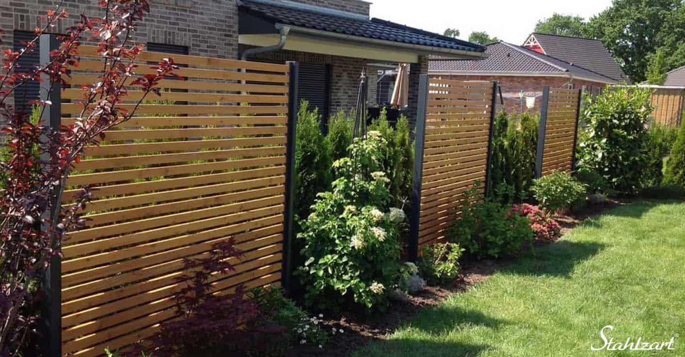 Sichtschutz Garten Holz Larche Metall Anthrazit Modern Stahlzart
