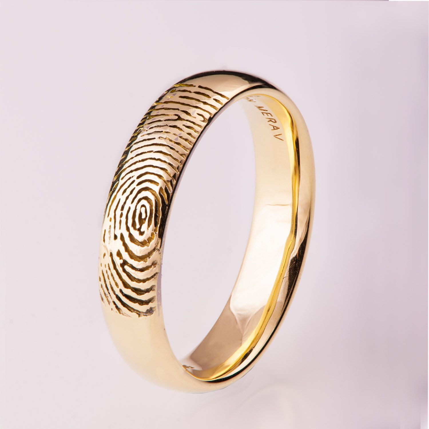 wedding set couple handmade fingerprint plain gold rings dome matching titanium bands pin