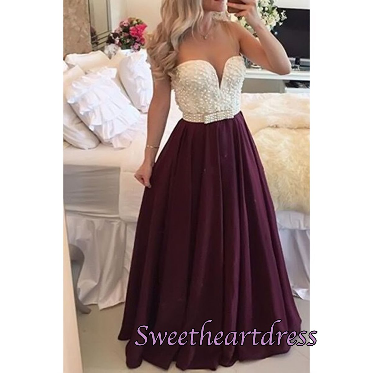 Sexy burgundy long plus size prom dress with pearls thumbnail