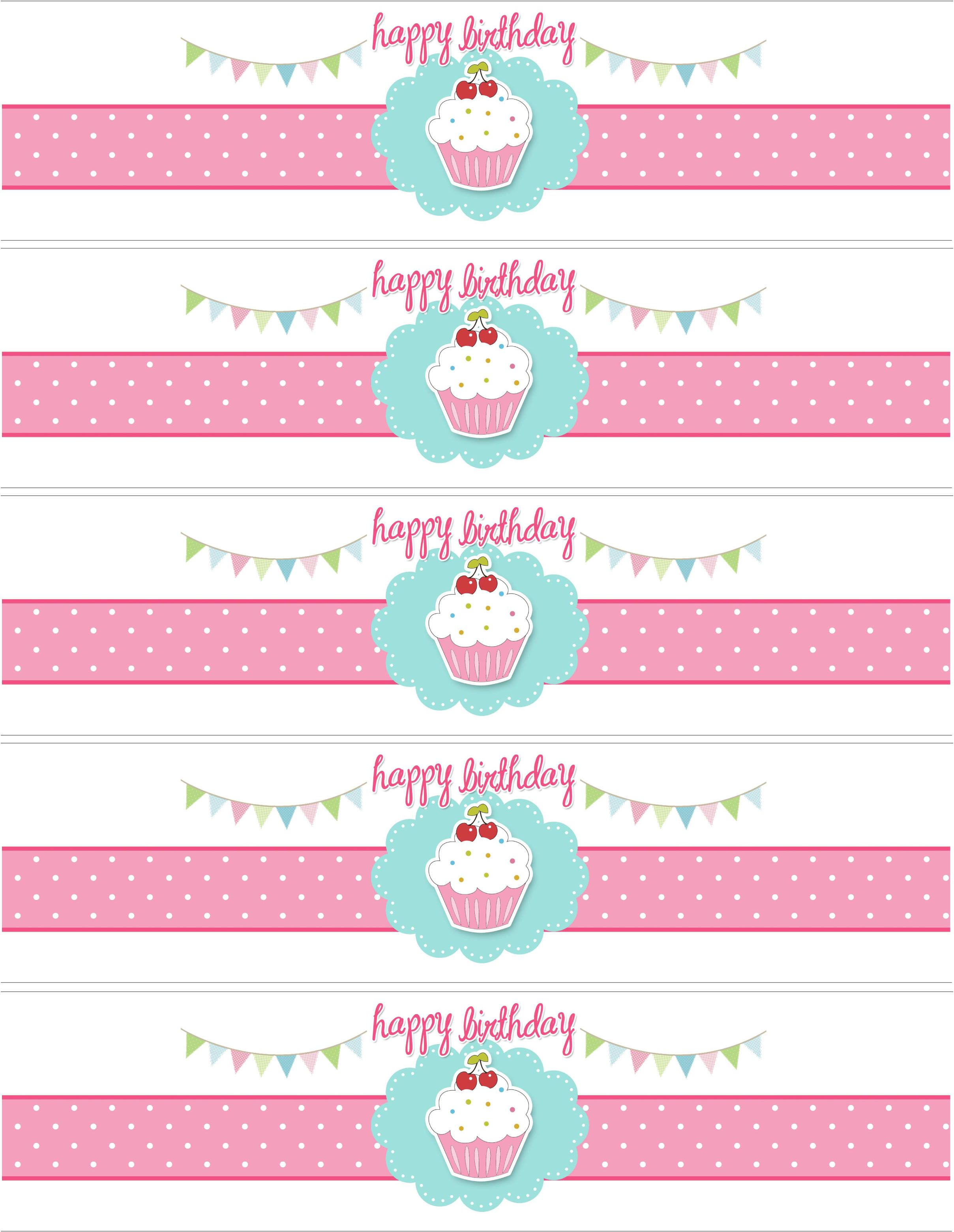 free printable water bottle labels template cupcake themed birthday party with free printables
