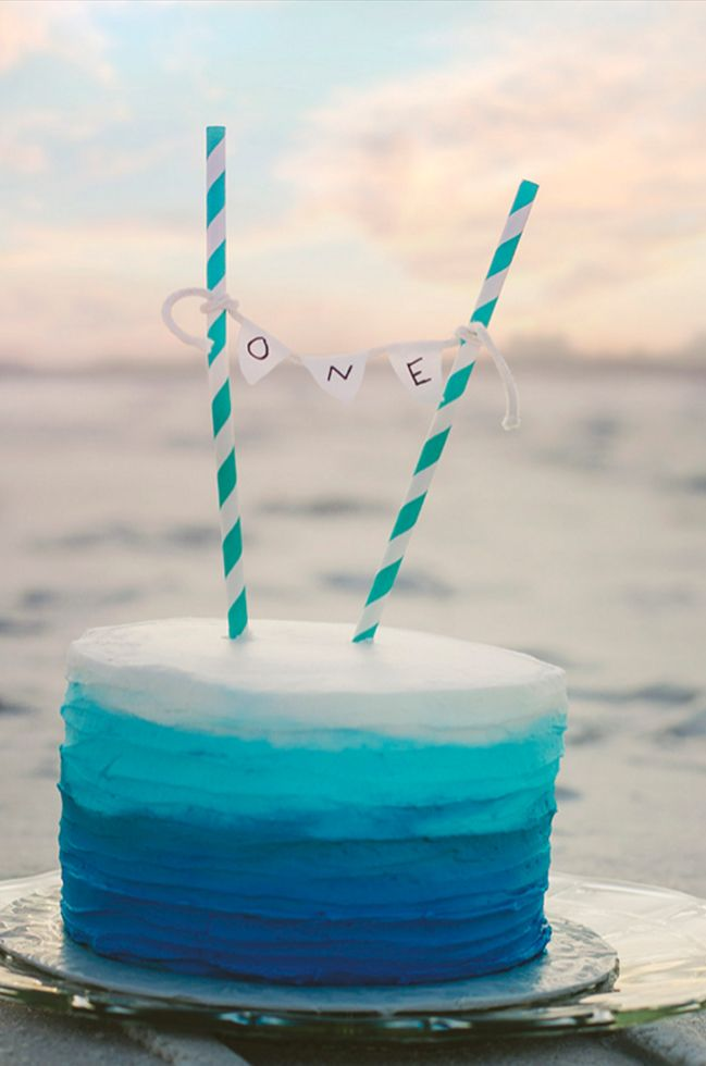 Blue And Turquoise Ombre Smash Cake Orion S Bday In