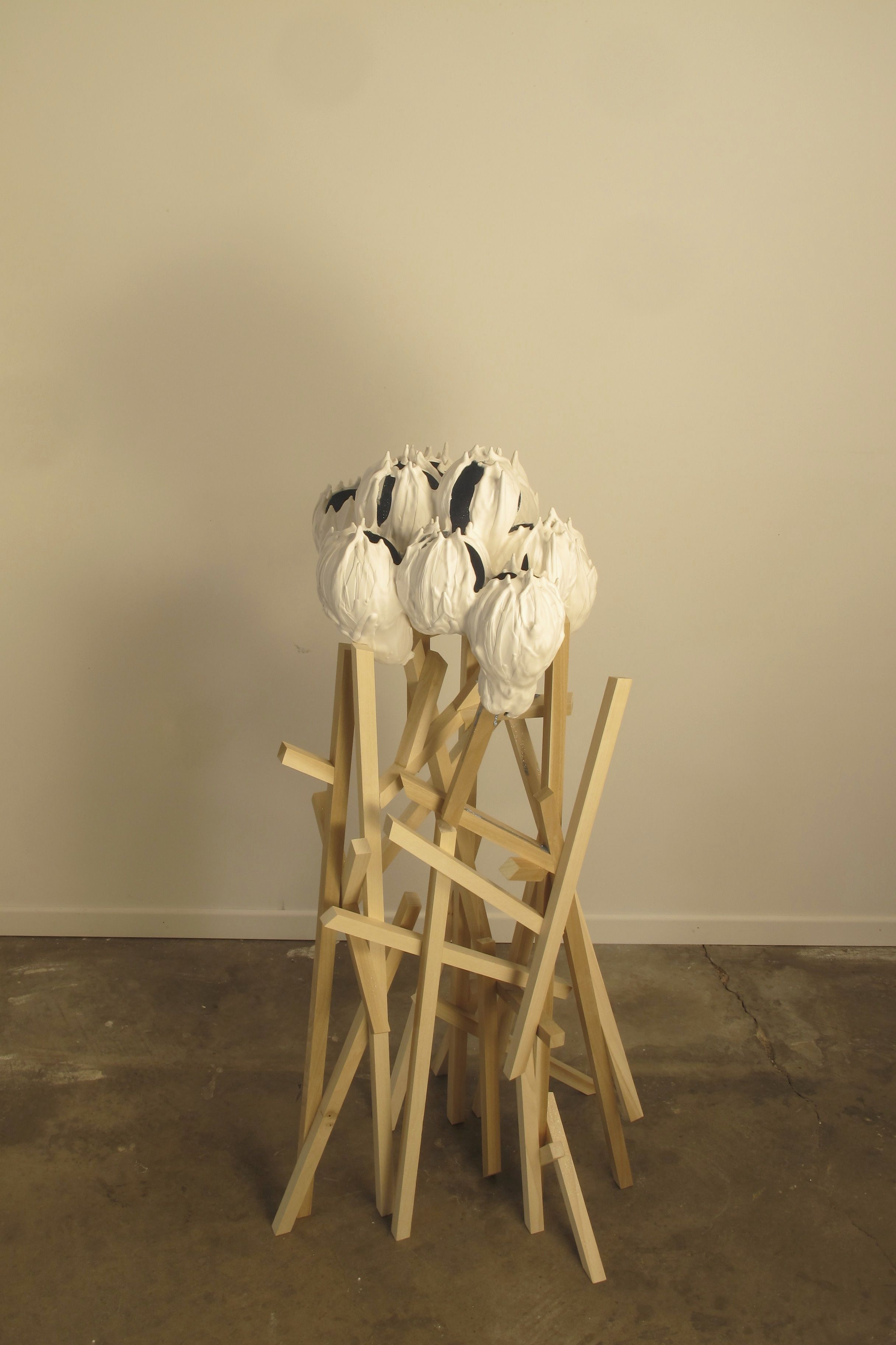 """Colony"", hydro-stone, glitter, wood, 2013 #sculpture #plaster #glitter #art #wood #mitrafabian"