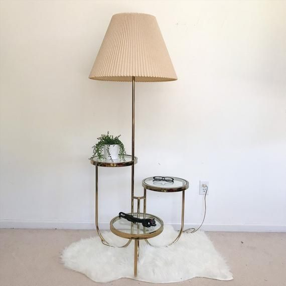Vintage Tier Table Lamp Combo Mid Century Modern Metal And Glass Floor Lamp With Three Side Tables Plant Stand Display Shelf Minimalist In 2020 Glass Floor Lamp Cool Floor Lamps Shelf Lamp