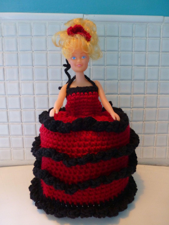 Handmade crochet retro 70s spanish doll toilet roll cover in red and black #spanishdolls